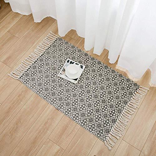 SHACOS Cotton Woven Rug With Tassel Doormat Washable Throw Rug Floor Rug Mat For Kitchen Bedroom Entryway Laundry Room 2x3 Grey Datura 0 5