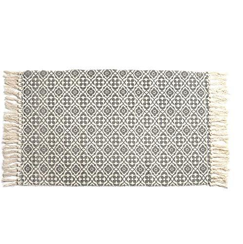 SHACOS Cotton Woven Rug With Tassel Doormat Washable Throw Rug Floor Rug Mat For Kitchen Bedroom Entryway Laundry Room 2x3 Grey Datura 0