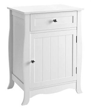 SONGMICS White Nightstand End Table With Storage Cabinet And Drawer Wooden Bedside Table Large Capacity Easy To Assemble 0 300x360