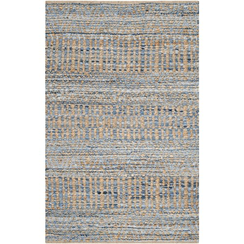 Safavieh Cape Cod Collection CAP353A Hand Woven Flatweave Natural And Blue Jute Area Rug 2 X 3 0 0