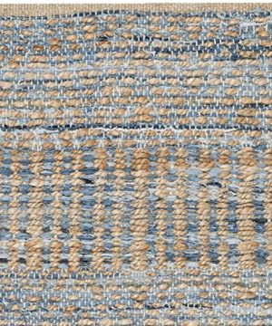 Safavieh Cape Cod Collection CAP353A Hand Woven Flatweave Natural And Blue Jute Area Rug 2 X 3 0 1 300x360