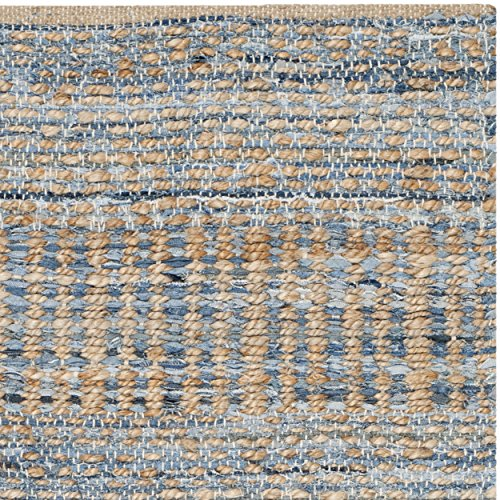 Safavieh Cape Cod Collection CAP353A Hand Woven Flatweave Natural And Blue Jute Area Rug 2 X 3 0 1