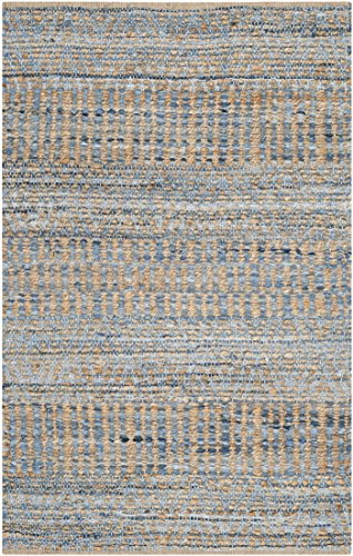 Safavieh Cape Cod Collection CAP353A Hand Woven Flatweave Natural And Blue Jute Area Rug 2 X 3 0