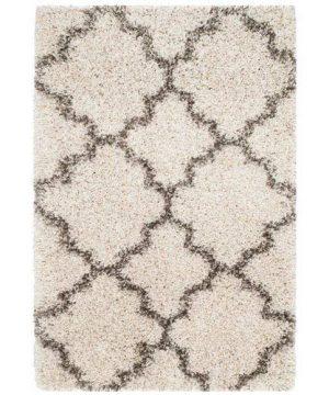 Safavieh Hudson Shag Collection SGH282A Ivory And Grey Moroccan Geometric Quatrefoil Area Rug 2 X 3 0 300x360