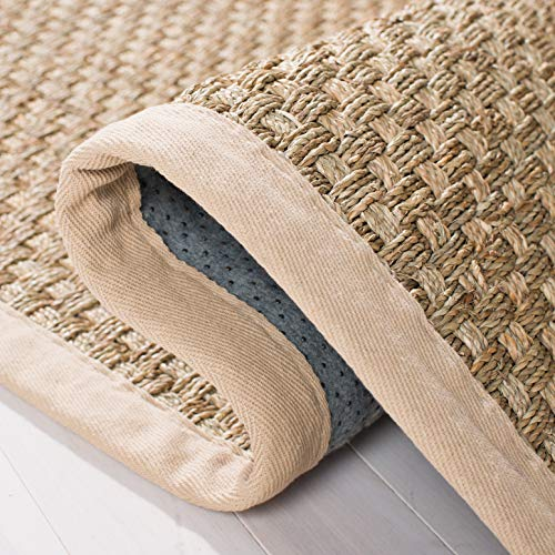 Safavieh Natural Fiber Collection NF114A Basketweave Natural And Beige Summer Seagrass Area Rug 2 X 3 0 2
