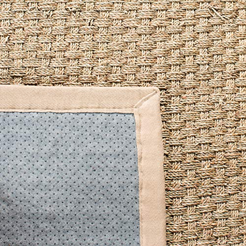 Safavieh Natural Fiber Collection NF114A Basketweave Natural And Beige Summer Seagrass Area Rug 2 X 3 0 4