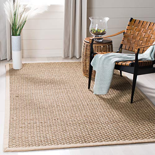 Safavieh Natural Fiber Collection NF114A Basketweave Natural And Beige Summer Seagrass Area Rug 2 X 3 0