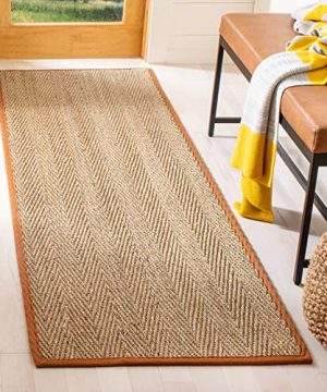 Safavieh Natural Fiber Collection NF115B Herringbone Natural And Brown Seagrass Area Rug 2 X 3 0 300x360