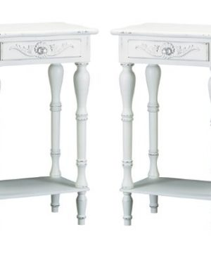 Set Of 2 Carved Wood Shabby White Nightstands 0 300x360