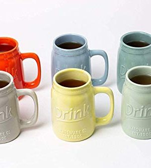 Set Of 6 Novelty Mason Jar Mugs With Handle Ceramic Multicolor Mugs For Coffee Tea And More 15oz EmbossedDrink Decorative Mason Jar Mugs For Beer Farmhouse Kitchen Dcor 0 1 300x333