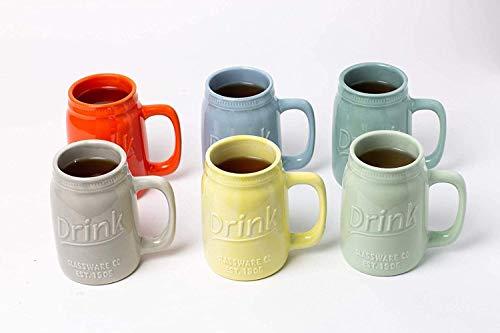 Set Of 6 Novelty Mason Jar Mugs With Handle Ceramic Multicolor Mugs For Coffee Tea And More 15oz EmbossedDrink Decorative Mason Jar Mugs For Beer Farmhouse Kitchen Dcor 0 1