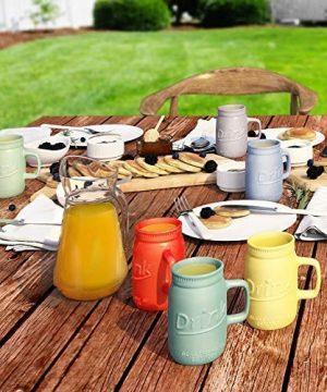 Set Of 6 Novelty Mason Jar Mugs With Handle Ceramic Multicolor Mugs For Coffee Tea And More 15oz EmbossedDrink Decorative Mason Jar Mugs For Beer Farmhouse Kitchen Dcor 0 2 300x360