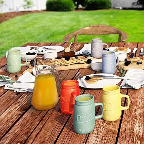 Set Of 6 Novelty Mason Jar Mugs With Handle Ceramic Multicolor Mugs For Coffee Tea And More 15oz EmbossedDrink Decorative Mason Jar Mugs For Beer Farmhouse Kitchen Dcor 0 2