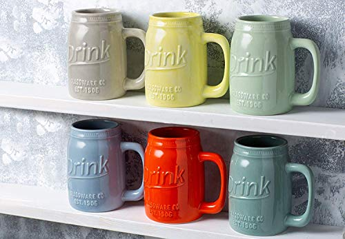 Set Of 6 Novelty Mason Jar Mugs With Handle Ceramic Multicolor Mugs For Coffee Tea And More 15oz EmbossedDrink Decorative Mason Jar Mugs For Beer Farmhouse Kitchen Dcor 0 3