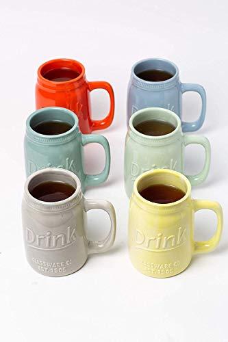 Set Of 6 Novelty Mason Jar Mugs With Handle Ceramic Multicolor Mugs For Coffee Tea And More 15oz EmbossedDrink Decorative Mason Jar Mugs For Beer Farmhouse Kitchen Dcor 0 4