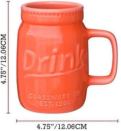 Set Of 6 Novelty Mason Jar Mugs With Handle Ceramic Multicolor Mugs For Coffee Tea And More 15oz EmbossedDrink Decorative Mason Jar Mugs For Beer Farmhouse Kitchen Dcor 0 5