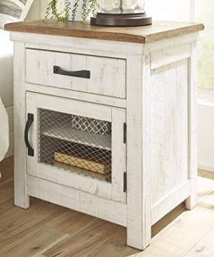 Signature Design By Ashley Wystfield One Drawer Night Stand WhiteBrown 0 0 300x360