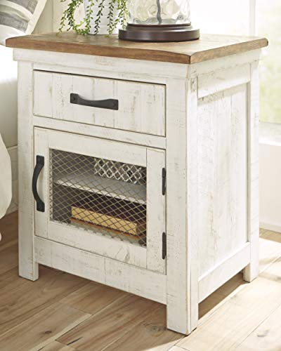Signature Design By Ashley Wystfield One Drawer Night Stand WhiteBrown 0 0