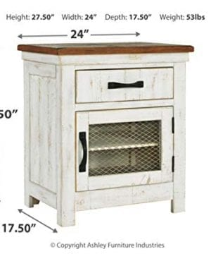 Signature Design By Ashley Wystfield One Drawer Night Stand WhiteBrown 0 2 300x360