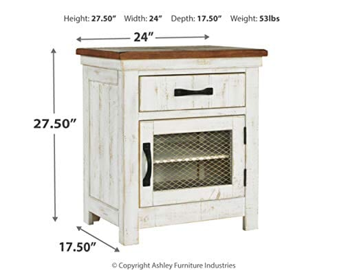 Signature Design By Ashley Wystfield One Drawer Night Stand WhiteBrown 0 2