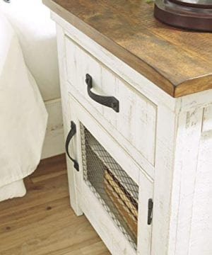 Signature Design By Ashley Wystfield One Drawer Night Stand WhiteBrown 0 3 300x360