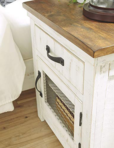 Signature Design By Ashley Wystfield One Drawer Night Stand WhiteBrown 0 3