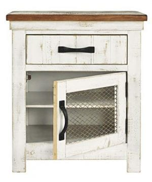Signature Design By Ashley Wystfield One Drawer Night Stand WhiteBrown 0 5 300x360