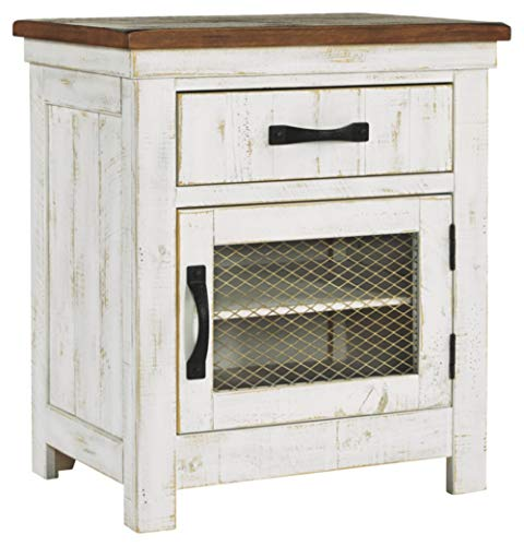 Signature Design By Ashley Wystfield One Drawer Night Stand WhiteBrown 0