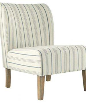 Signature Design By Ashley Triptis Accent Chair Farmhouse Style Pinstriped CreamBlue 0 300x360