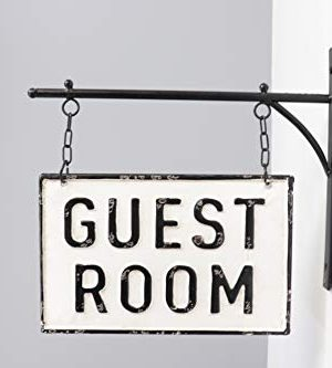 Silvercloud Trading Co Rustic Hanging Double Sided Guest Room Embossed Black On White Enamel Metal Sign With Bracket Wall Decor Room Label 0 0 300x333