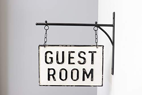 Silvercloud Trading Co Rustic Hanging Double Sided Guest Room Embossed Black On White Enamel Metal Sign With Bracket Wall Decor Room Label 0 0
