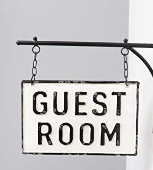 Silvercloud Trading Co Rustic Hanging Double Sided Guest Room Embossed Black On White Enamel Metal Sign With Bracket Wall Decor Room Label 0 1 300x333