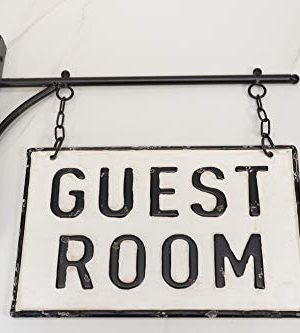 Silvercloud Trading Co Rustic Hanging Double Sided Guest Room Embossed Black On White Enamel Metal Sign With Bracket Wall Decor Room Label 0 2 300x333