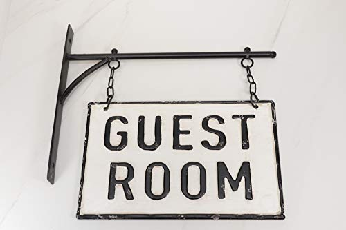 Silvercloud Trading Co Rustic Hanging Double Sided Guest Room Embossed Black On White Enamel Metal Sign With Bracket Wall Decor Room Label 0 2