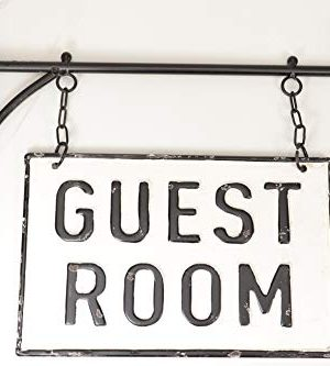 Silvercloud Trading Co Rustic Hanging Double Sided Guest Room Embossed Black On White Enamel Metal Sign With Bracket Wall Decor Room Label 0 300x333