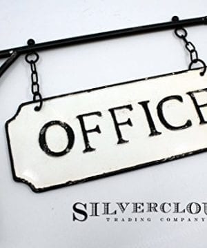 Silvercloud Trading Co Rustic Hanging Double Sided Office Embossed Black On White Enamel Metal Sign With Bracket Business Wall Decor Room Label Wayfinding 0 1 300x360