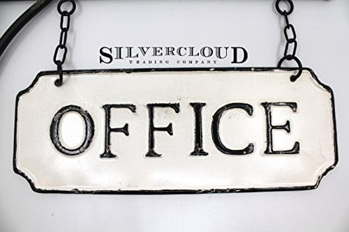 Silvercloud Trading Co Rustic Hanging Double Sided Office Embossed Black On White Enamel Metal Sign With Bracket Business Wall Decor Room Label Wayfinding 0 2