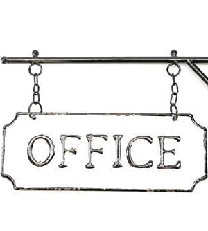 Silvercloud Trading Co Rustic Hanging Double Sided Office Embossed Black On White Enamel Metal Sign With Bracket Business Wall Decor Room Label Wayfinding 0 4 300x334