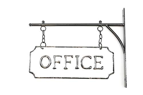 Silvercloud Trading Co Rustic Hanging Double Sided Office Embossed Black On White Enamel Metal Sign With Bracket Business Wall Decor Room Label Wayfinding 0 4