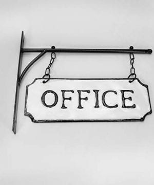 Silvercloud Trading Co Rustic Hanging Double Sided Office Embossed Black On White Enamel Metal Sign With Bracket Business Wall Decor Room Label Wayfinding 0 5 300x360