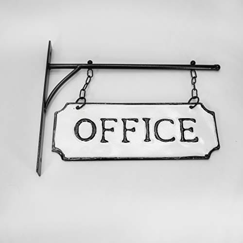 Silvercloud Trading Co Rustic Hanging Double Sided Office Embossed Black On White Enamel Metal Sign With Bracket Business Wall Decor Room Label Wayfinding 0 5