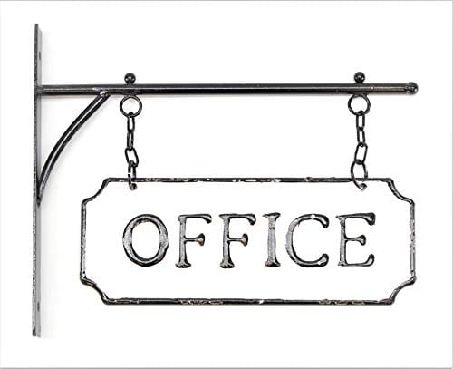 Silvercloud Trading Co Rustic Hanging Double Sided Office Embossed Black On White Enamel Metal Sign With Bracket Business Wall Decor Room Label Wayfinding 0