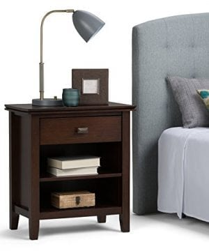 Simpli Home Artisan Solid Wood 24 Inch Wide Contemporary Bedside Nightstand Table In Russet Brown 0 300x360