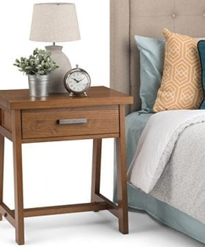 Simpli Home Sawhorse Solid Wood 24 Inch Wide Modern Industrial Bedside Nightstand Table In Medium Saddle Brown 0 0 300x360