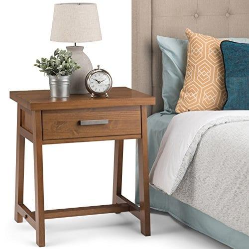 Simpli Home Sawhorse Solid Wood 24 Inch Wide Modern Industrial Bedside Nightstand Table In Medium Saddle Brown 0 0