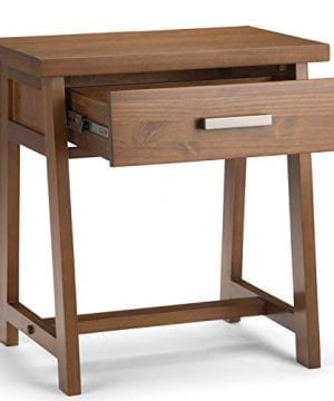 Simpli Home Sawhorse Solid Wood 24 Inch Wide Modern Industrial Bedside Nightstand Table In Medium Saddle Brown 0 1 300x360