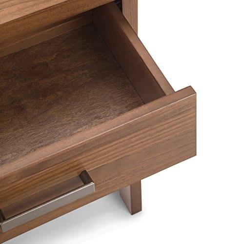 Simpli Home Sawhorse Solid Wood 24 Inch Wide Modern Industrial Bedside Nightstand Table In Medium Saddle Brown 0 3