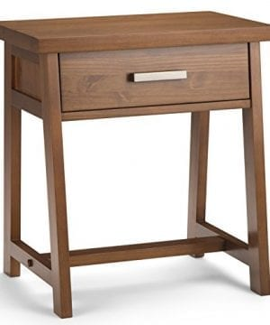 Simpli Home Sawhorse Solid Wood 24 Inch Wide Modern Industrial Bedside Nightstand Table In Medium Saddle Brown 0 300x360