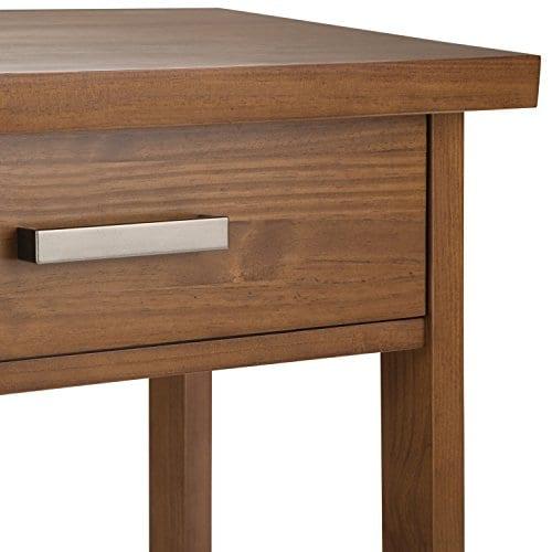 Simpli Home Sawhorse Solid Wood 24 Inch Wide Modern Industrial Bedside Nightstand Table In Medium Saddle Brown 0 4