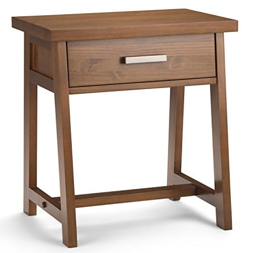 Simpli Home Sawhorse Solid Wood 24 Inch Wide Modern Industrial Bedside Nightstand Table In Medium Saddle Brown 0